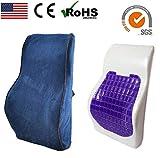 OBLIQ Memory Foam Lumbar Back Support Ergonomic Cushion with High Density Cooling Gel