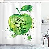 ABAKUHAUS Obst Duschvorhang, Dont Worry Essen Apfel, Wasser Blickdicht inkl.12 Ringe Langhaltig Bakterie & Schimmel Resistent, 175 x 240 cm, Apfelgrün Weiß