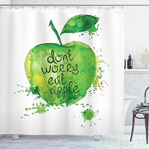 ABAKUHAUS Fruta Cortina de Baño, No se preocupe Come La Manzana, Material Resistente al Agua Durable Estampa Digital, 175 x 200 cm, Verde Manzana Blanca