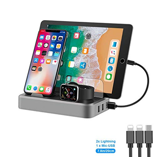 GENESS 5 in 1 Multi Device Charging Station Fast Charger with Watch Holder and Phone Stand, 5 Port USB QC Quick Charge 3.0 Phone Charging Dock Station for iPhone Cellphone/Android Devices