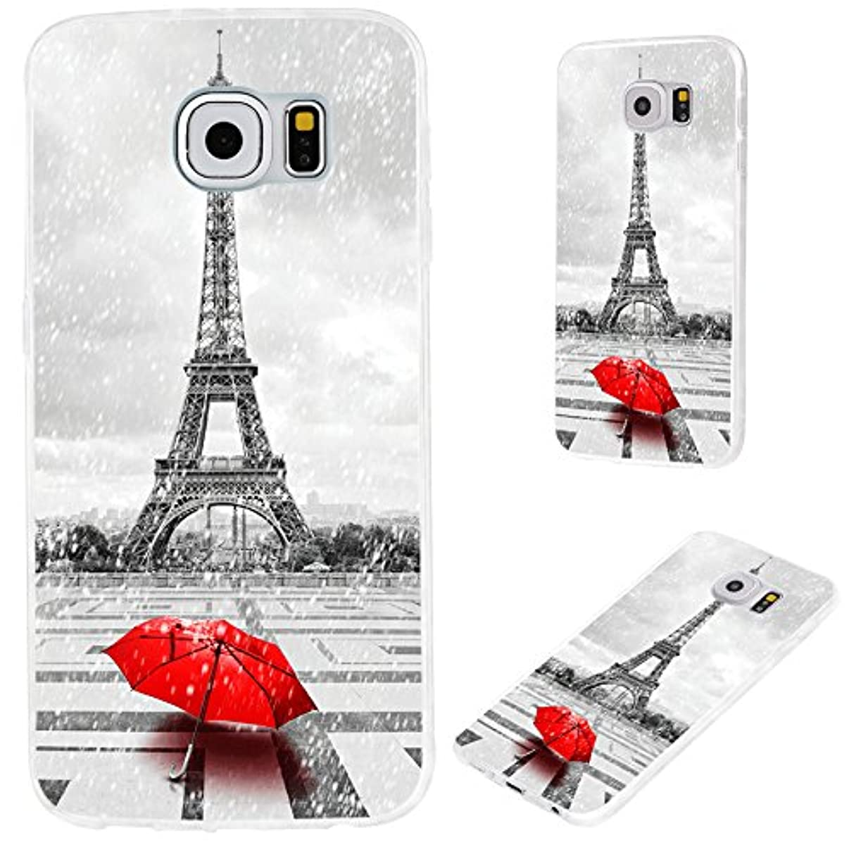 S6 case,Galaxy S6 case,Samsung S6 case, VoMotec [Original series] Anti-scratch Slim Flexible Soft TPU Protective Skin Cover Case For Samsung Galaxy S6,Eiffel tower in the rain with red umbrella