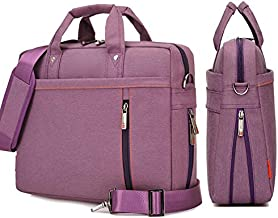 17 Inch Laptop Bag Computer Case Briefcase Expandable Water-Repellent Shoulder Messenger Bag for Travel/Business/School/Men/Women Purple