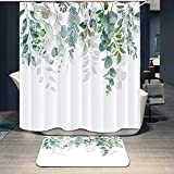 2 Piece Watercolor Botanical Green Leaves Shower Curtain and Mat Rug Set with 12 Hook Spring Plant Branch Bouquet Fresh Floral Nature Shower Curtain Sets for Bathroom 72'x72' (Watercolor Botanical)