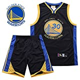 Herren Basketball Trikots Set - NBA Warriors 30 Curry Basketball Uniform Sommer bestickte Shirt Weste Shorts,A,XL