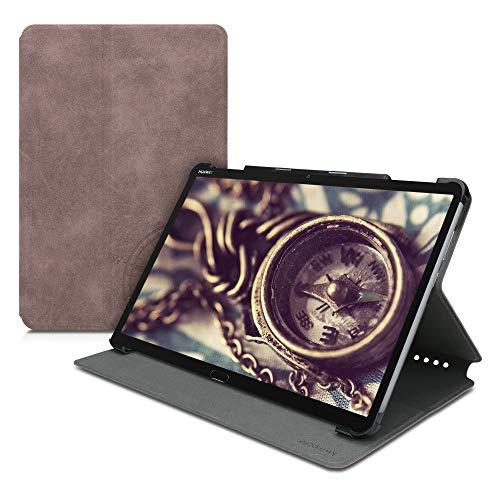 kwmobile Hülle kompatibel mit Huawei MediaPad M5 Lite 10 - Slim Tablet Cover Kompass Vintage Braun