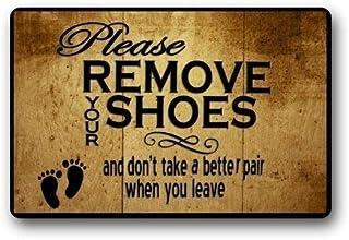 ZMvise - Felpudo de franela lavable a medida, por favor, quítate los zapatos para interior y exterior de 15,7 x 60 cm