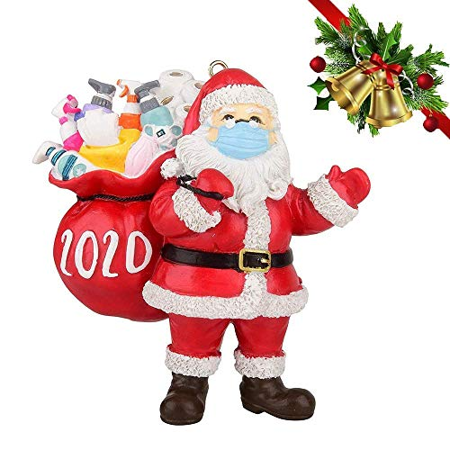 ANBOKC 2020 Santa Claus Ornaments, Christmas Tree Decoration Pendant, Christmas Hanging Ornaments, Santa Claus with Face Cover Tradition Home Decor Commemoration Gift for Home Friend Family (A)