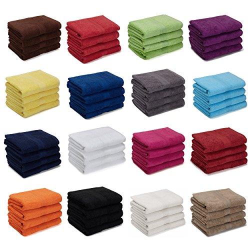 AR Line 4er Pack zum Sparpreis, Frottier Handtuch-Serie - in 7 Größen und 16 Farben 100{2bece7282e23007bfefbc453dbb3d8de8bba8c234087867077182cd98cbd447a} Baumwolle 500 g/m², 4er Pack Handtücher (50x100 cm) in Weiß