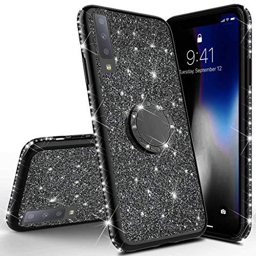 Uposao Coque Compatible avec Samsung Galaxy A7 2018 Glitter Coque,Bling Brillant Diamant Paillettes Silicone Coque + Anneau Support,Souple TPU Gel Sparkle Placage Métal Coque Housse Etui,Noir