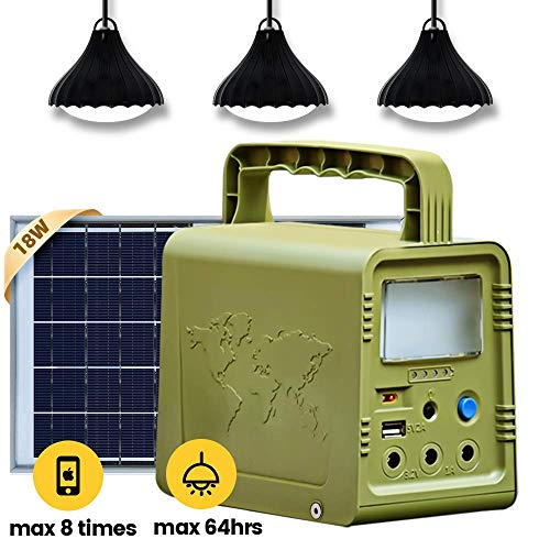 ECO-WORTHY 84Wh Battery Solar Portable Power Station, Solar Generator Lighting Kit System with Solar Panel LED Lamp for Outdoor Camping, Fishing, Home Emergency Power Supply, Hurricane, Power Outage