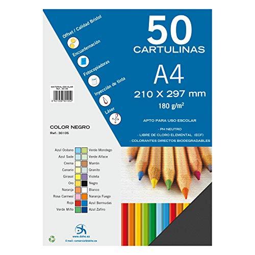 Dohe 30105 - Pack de 50 cartulinas, A4, color negro
