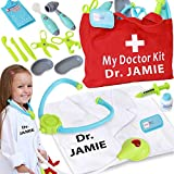 Personalized Toy Doctor Kit For Kids Realistic Doctor Play Set Include Bag, Coat, Light Up Stethoscope, Thermometer & More -Perfect Toddler Doctor Kit, Kids Doctor Playset , Kid Doctor Set for Kids