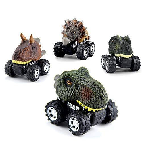 WEARXI Dinosaurier Spielzeug - 4Pack Geschenke Dinosaurier Auto Jurassic World ziehen Autos zurück - Geschenke Junge Dinosaurier Spielzeug ab 3 Jahren Junge, Dino Spielzeug für Kinder
