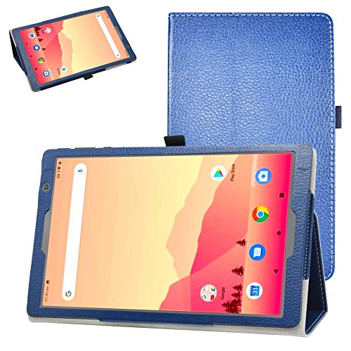 """Bige for Vankyo MatrixPad S20 10 inch Tablet Case,PU Leather Folio 2-Folding Stand Cover for 10"""" Vankyo MatrixPad S20 Tablet/YUNTAB D107 10.1 inch Tablet PC,Dark Blue"""
