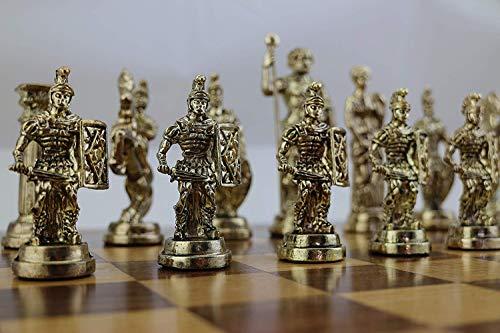 GiftHome (Solo piezas de ajedrez) Históricas figuras de Roma hechas a mano piezas de ajedrez de metal, tamaño grande King 4.3 inc (tabla no incluida)
