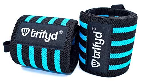 Trifyd ® – Protezione polso blu per sollevamento pesi, ginnastica, crossfit, Street Workout (coppia)