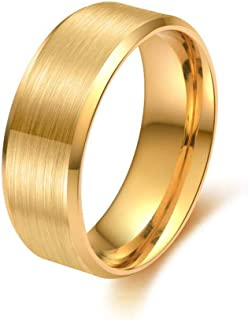 Thyself Mens Yellow Gold Color Titanium Rings for Men Size 8-12 Wedding Engagement Band