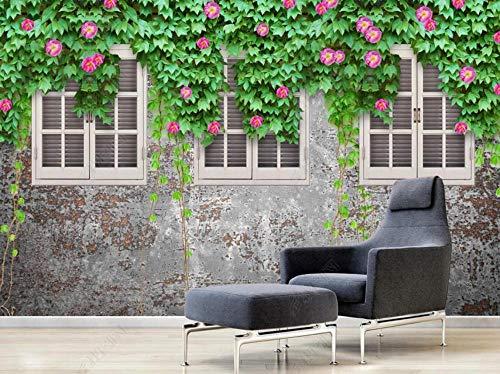 Papel Pintado 3D Rose Flor Vid Ventana Cemento Pared Fotomurale 3D Tv Telón De Fondo Pared Decorativos Murales