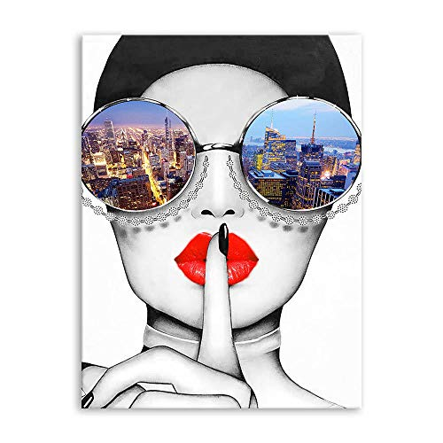 Fashion Wall Art Canvas Prints Modern Women With Red Lips Artwork Stylish Feminine Framed Wall Art Large Painting Cityscape Piture Ready to Hang for Living Room Bathroom Bedroom Lounge Wall Decoration