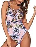 Ekouaer One Piece High Cut Deep V Swimsuit Monokini Bikini for Women(66-Pineapple Flower,XL)