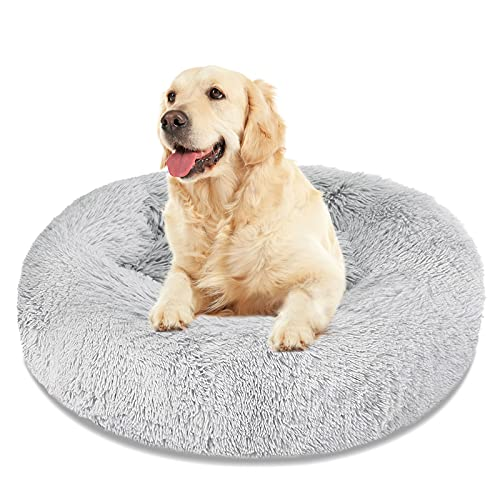Calming Dog Bed Cat Bed, Washable Round Dog Bed – 23/30/36 inches Anti-Slip Faux Fur Donut Cuddler Cat Bed for Small…