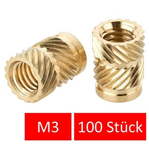 Turmberg3D Gewindeeinsatz M3 (100 Stück) /M3x5,7 Messing Gewindebuchsen/Einpressmutter für Kunststoffteile für 3D-Drucker Teile