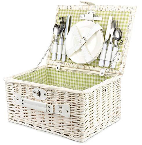 Bingo-Shop Picknickkorb für 4 Personen Inklusive Bestecksets, Korkenzieher, Weingläser und Keramikteller - 29 x 18 x 30cm Picknickkoffer Picknickset Picknick Korb Weiß Grün Innenstoff