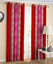 Exporthub 2 Piece Red Flowers Ringtop Eyelet Polyester Window Curtain - 6 feet, EHSPR674_64_2