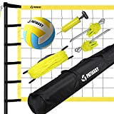 Patiassy Outdoor Volleyball Set Portable Volleyball Net with Adjustable Height Poles, Volleyball with Pump and Carrying Bag for Backyards Beach