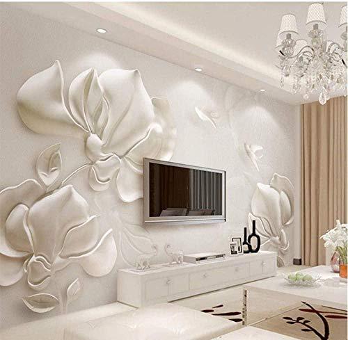 ZJfong 3D wallpaper, moderne stereoscopische gips, reliëf magnolia fotobehang, woonkamer, tv, sofa, achtergrond, wandbekleding, wooncultuur 300 x 200 cm.