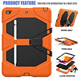 New iPad 10.2 2019 Case,UZER Heavy Duty Shockproof Anti-Slip Kickstand Silicone Rugged Three Layer Armor Protective Case with Pencil Holder&Built in Screen Protector for iPad 10.2 inch 7th Generation