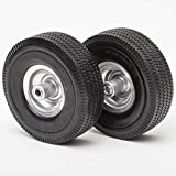 Lapp Wheels 4.10/3.50-4 Flat Free Tires, Hand Truck, Utility cart Replacement Wheel, tubeless, Size 2-1/4'' Offset hub, 5/8'' Bearing, 2 Pack