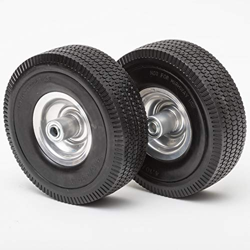 Lapp Wheels 4.10/3.50-4 Flat Free Tires, Hand Truck, Utility cart Replacement Wheel, tubeless, Size 2-1/4'' Offset hub, 5/8'' Bearing, 2 Pack