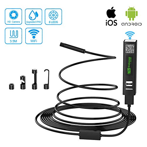 Moglor WiFi endoscoopcamera USB endoscoop inspectiecamera semi-stijve kabel 2.0 megapixels 1200P HD IP68 waterdichte endoscoopcamera met licht voor Android, iOS, iPhone, Samsung, Windows,laptop, 3.5ft, 1