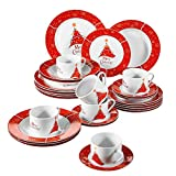 VEWEET, Series Christmastree, Porcelain Combination Set, 30-Piece Dinnerware Service Set for 6 Person, with Cup Saucer Dessert Plate Soup Plate and Dinner Plate, Christmas Holiday