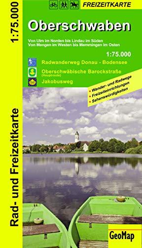 Oberschwaben - Wanderkarte: Radwanderweg Donau - Bodensee. Oberschwäbische Barockstrasse. (Geo Map)