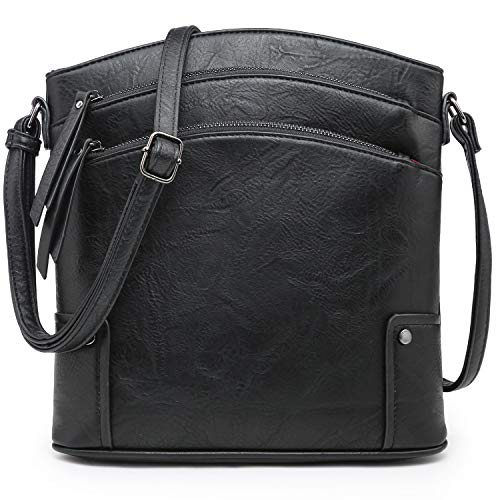 VONMAY Large Crossbody Bags for Women Triple Zip Pocket Cross Body Purses and Handbags Black