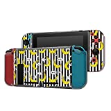 Dockable Case Compatible with Nintendo Switch Console and Joy-Con Controller, Patterned ( Funny Cartoon Bananas on Stripes ) Protective Case Cover with Tempered Glass Screen
