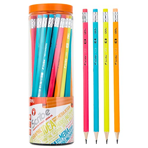 Deli WoodCased Pencils Graphite 2 HB Pencils with Erasers Columnar Cased PreSharpened Wooden Pencils for Kids and Adults 50Count