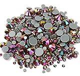BrillaBenny 1000 cristales termoadhesivos Rainbow Rose Gold Hotfix Mix 2 mm/3 mm/4 mm/5 mm/6 mm Rhinestone Crystal Diamond Luxury