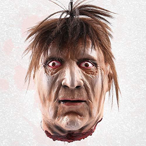 Comficent Halloween Decoración Colgando los apoyos, Separó la Cabeza de tamaño Natural con Sangre Cortar cadáver ,Cabeza del Zombie para Suministros frecuentada del Partido Casas (18105)