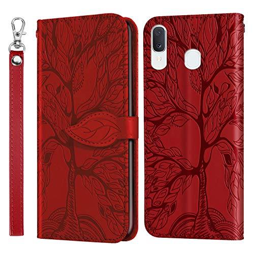 Miagon Prägung Lederhülle für Samsung Galaxy A40,Handyhülle Tasche Brieftasche Hülle Bookstyle Schutzhülle Flip Case Cover Klapphülle Kartenfächer,Baum Rot