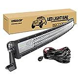 RIGIDON Curvada Barra de luz led, 12V 24V 52 pulgadas 675W, Tri fila Barras luminosas led y kit de cableado para off road camión coche ATV SUV 4x4 barco, Foco Inundación Combo, lámpara de conducción