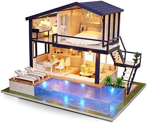 WESD Tiny House Kit de construcción miniatura DIY casa de muñecas casa casa casa casa casa casa casa casa casa casa casa hecho a mano montaje creativo con LED y caja de música