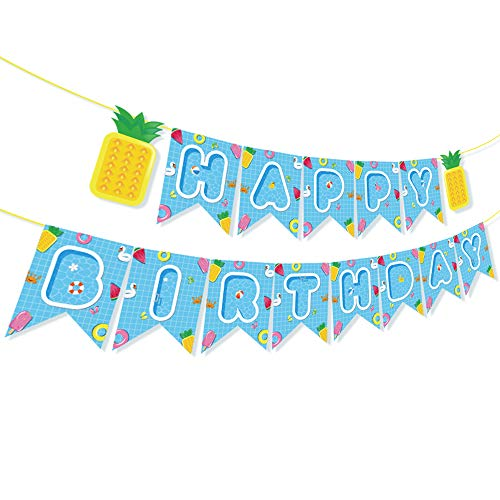 Summer Birthday Banner,Hello Summer Banner,Pool Banner,Water Banner,Summer/Pool/Tiki/Tropical/Hawaiian Party Supplies/Decoration for Girls,Boys,Kids,Home,School,Baby Showers,1st Birthday