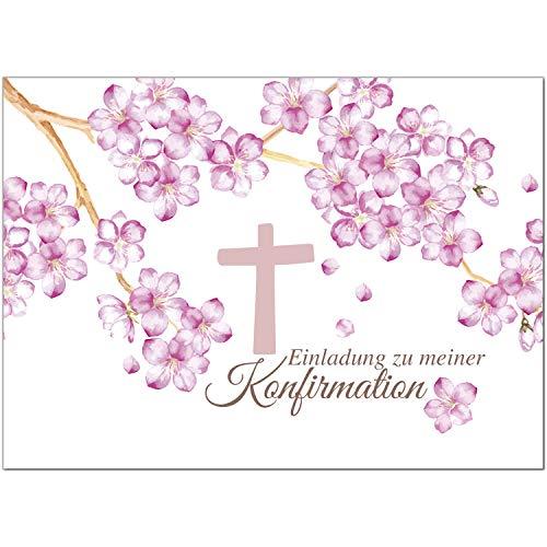15 x Einladungskarten Konfirmation mit Umschlag/Rosa Blüten mit Kreuz/Konfirmationskarten/Einladungen zur Feier