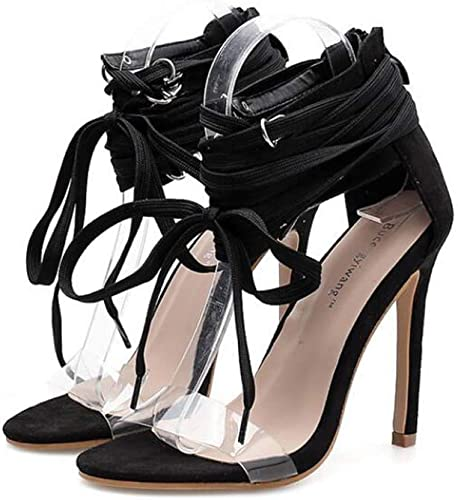 Mamrar 11cm Talons Aiguilles de Haut Talon Sandales Partie Robe Chaussures Femmes Sexy Creux Rivets Transparents OL Chaussures de Cour de l'UE Taille 34-40