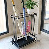 Umbrella Holder with Removable Drip Tray and 8 Hooks,Antique Metal Umbrella Stand Free Standing,Industrial Umbrella Rack for Home Office Entry Hallway Patio Decor(Black)