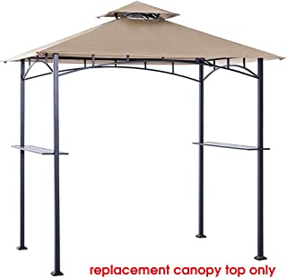 Eurmax 5FT x 8FT Double Tiered Replacement Canopy Grill BBQ Gazebo Roof Top Gazebo Replacement Canopy Roof(Beige)