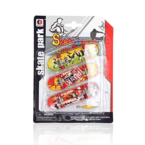 TEENLEE 3 pcs Professional Mini Fingerboard Finger Skateboards Toy with Random Pattern Creative Fingertips Movement Finger Toy for Kids and Teens